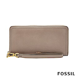 FOSSIL LOGAN 真皮系列多層拉鍊零錢袋長夾-奶油駝色