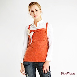 KeyWear奇威名品    精緻鉤花毛線背心-橘紅色
