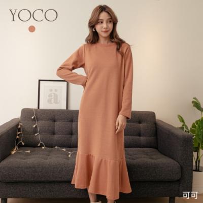 東京著衣-YOCO 輕柔高雅圓領磨毛魚尾長洋裝