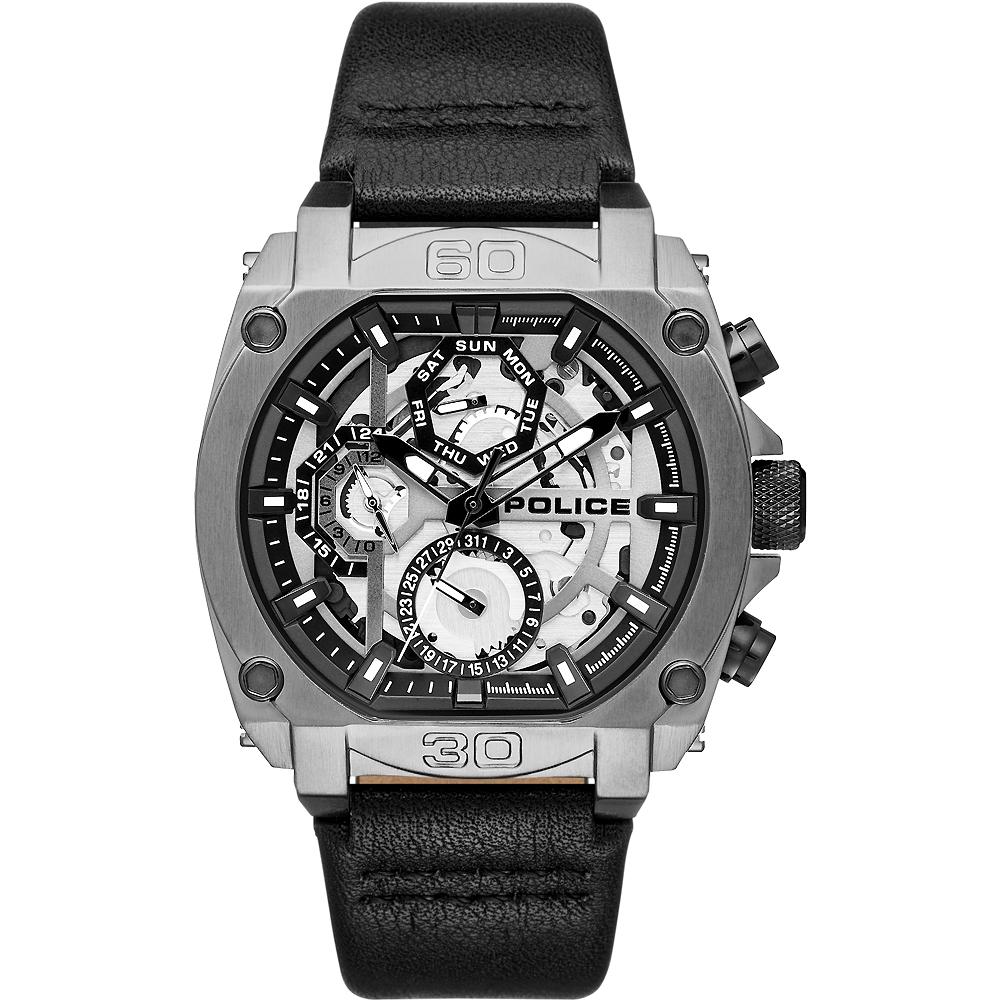 POLICE 重機械風格三眼皮革手錶-灰X黑/45mm