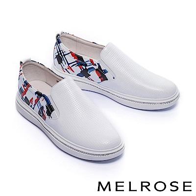 休閒鞋 MELROSE 率性獨特撞色水鑽全真皮厚底休閒鞋-白