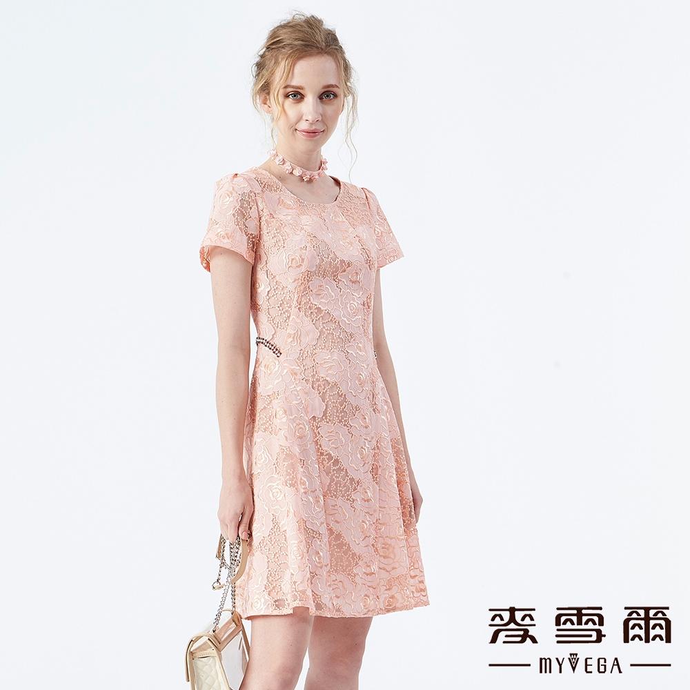 【麥雪爾】典雅立體刺繡鏤空水鑽洋裝 @ Y!購物