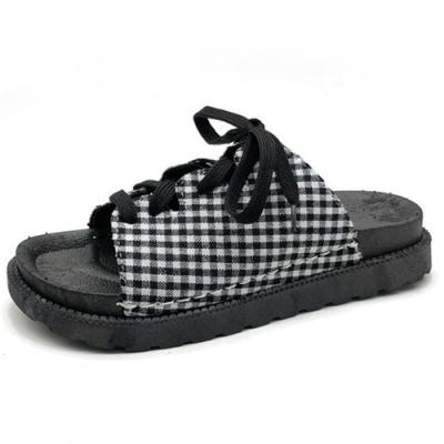 KEITH-WILL時尚鞋館 時尚穿搭俐落綁帶拖鞋-格子