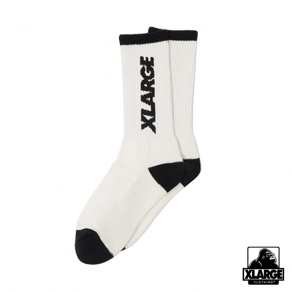XLARGE 2TONE LOGO MIDDLE SOCKS潮流長襪-白