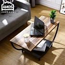 Amos-輕工業復古風半圓矮茶几桌 90X40X46