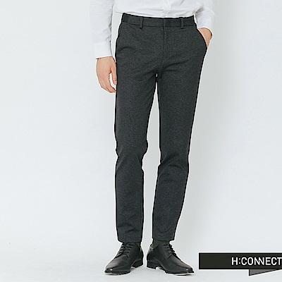 H:CONNECT 韓國品牌 男裝-側鬆緊混織長褲-深灰