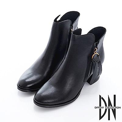 DN 紐約街頭 純色牛皮拉鍊低跟短靴-黑
