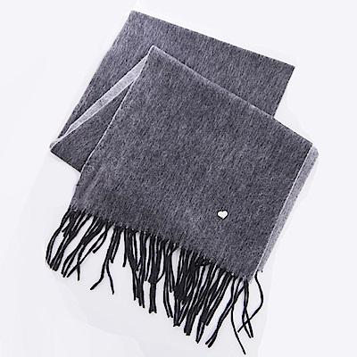 ELLE羊毛親膚保暖2面雙色圍巾-黑