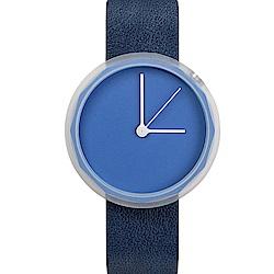 AÃRK 寶藍極簡主義真皮革腕錶 -藍色/38mm