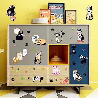半島良品 DIY無痕壁貼-卡通萌貓組 SK7093 50x70cm