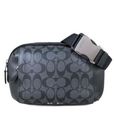 COACH防潑水Logo搭皮革雙層單肩斜多用途後背胸包腰包炭黑色