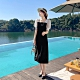 法式優雅撞色拼接方領淑女洋裝M-L-Dorri product thumbnail 1