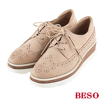 BESO 英式風範 方楦雕花綁帶牛津鞋~米