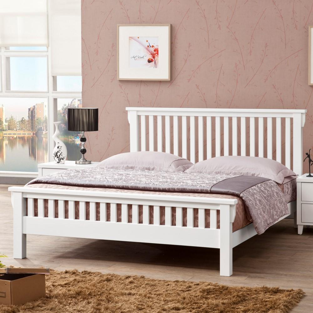 D&T德泰傢俱 ASAIIS白色北歐實木5尺單人床-157.5x199x100cm