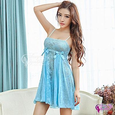 Sexy Cynthia性感睡衣 優雅水藍緹花蕾絲二件式睡衣-藍F