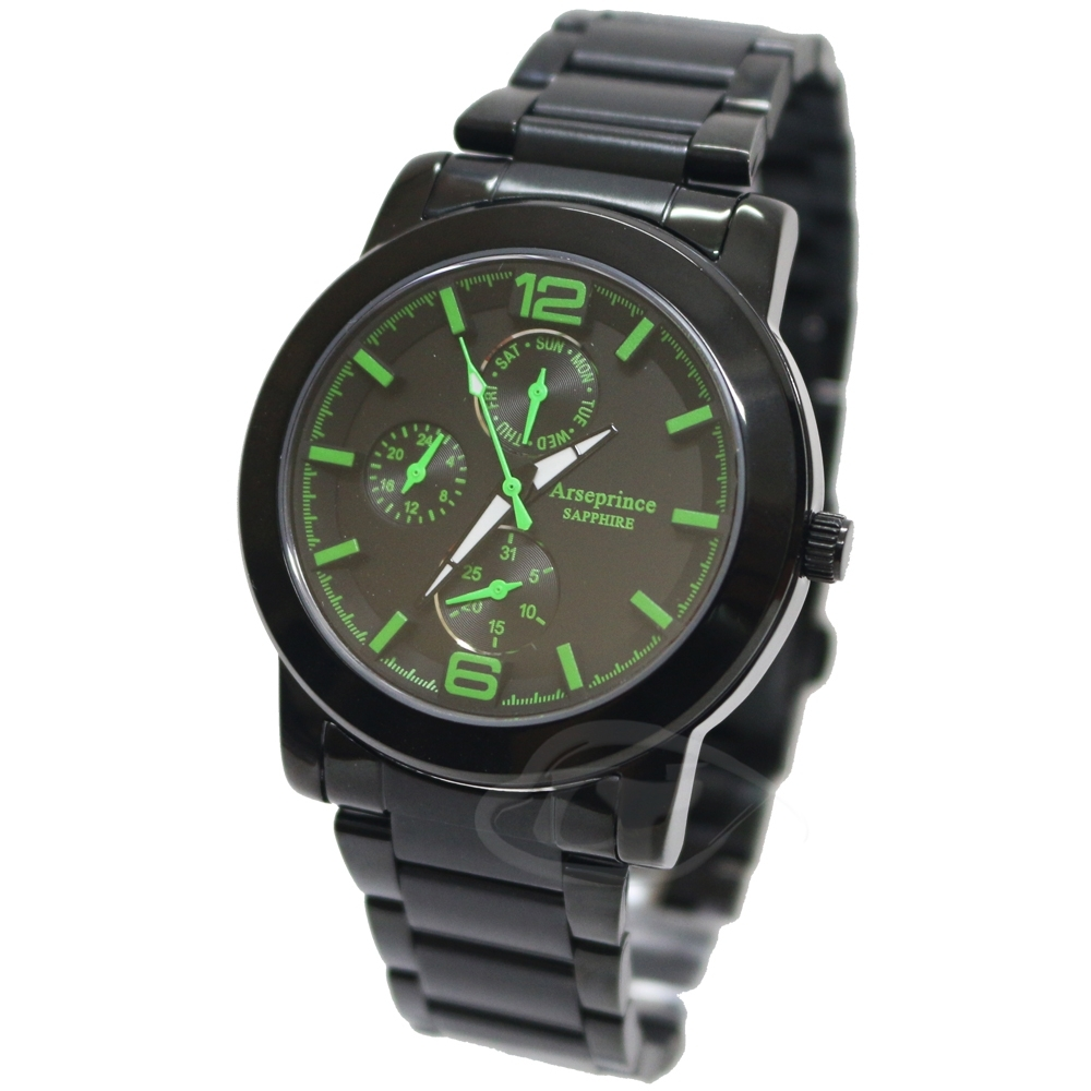 Arseprince夜行迷幻精密三眼中性錶-清新綠