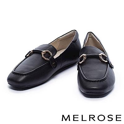 平底鞋 MELROSE 復古風潮金屬馬銜釦牛皮樂福平底鞋-黑