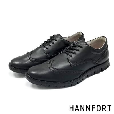 HANNFORT ZERO GRAVITY 羊皮翼紋德比氣墊鞋 男 黑