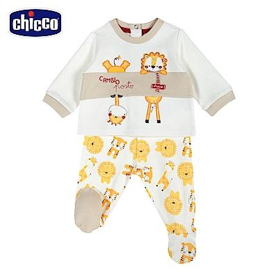 chicco-動物樂園系列-印花連腳套裝-白(3-12個月)
