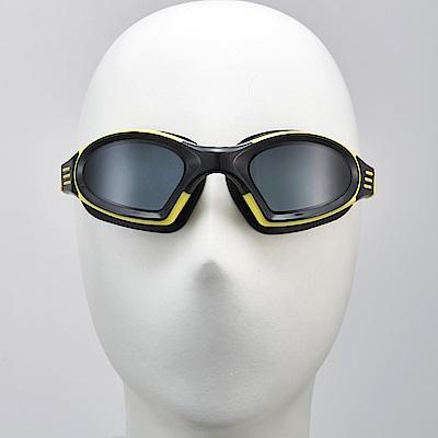 聖手牌 泳鏡 後扣式頭帶黃色平光防霧泳鏡
