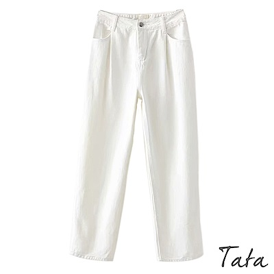 白牛仔直筒寬褲 TATA
