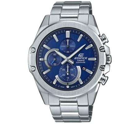 EDIFICE 簡約風格藍寶石玻璃不鏽鋼賽車錶(EFR-S567D-2A)/藍45.6
