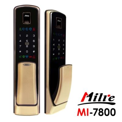 Milre美樂 推拉式密碼/指紋/卡片/鑰匙智能電子門鎖MI-7800-香檳金(附基本安裝)