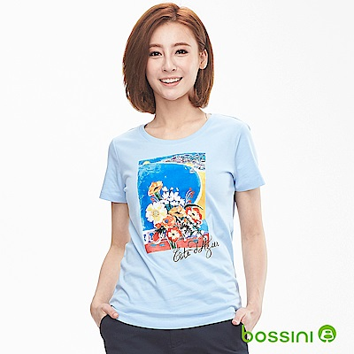 bossini女裝-印花短袖T恤03淡藍色
