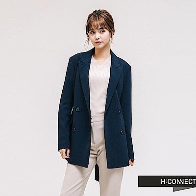 H:CONNECT 韓國品牌 女裝-腰帶造型修身西裝外套-藍