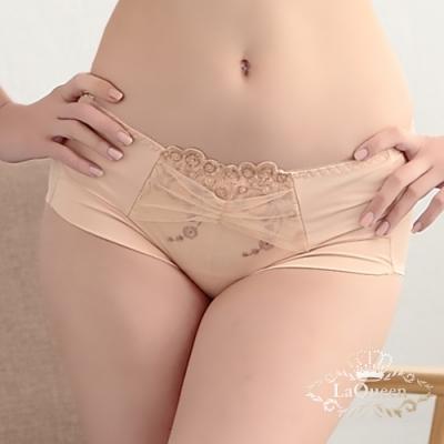 內褲   法式刺繡蠶絲小褲-膚 La Queen