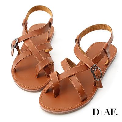 D+AF 率真印象.交叉線條釦環平底涼鞋*棕