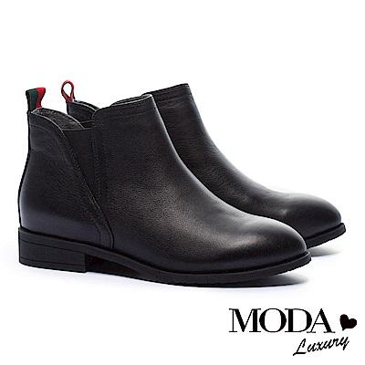 短靴 MODA Luxury 異材質拼接率性百搭牛皮粗跟短靴-黑