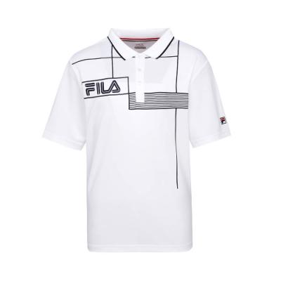FILA 男抗UV吸濕排汗POLO衫-白色 1POT-5003-WT