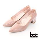 【bac】歐美簡約素雅尖頭透明配色粗跟高跟鞋-粉紅