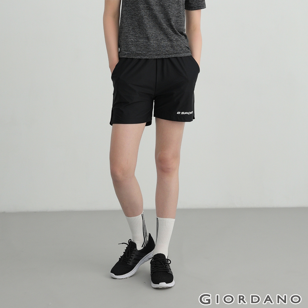 GIORDANO 女裝輕薄涼感抽繩短褲 - 09 標誌黑