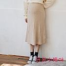 日系小媽咪孕婦裝-孕婦褲~簡約氣質坑條感針織裙 (共二色)