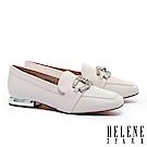 低跟鞋 HELENE SPARK 時尚白鑽馬銜釦造型樂福低跟鞋-米