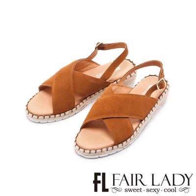 FAIR LADY 盛夏 麂皮交叉帶楔型麻編底涼鞋 棕