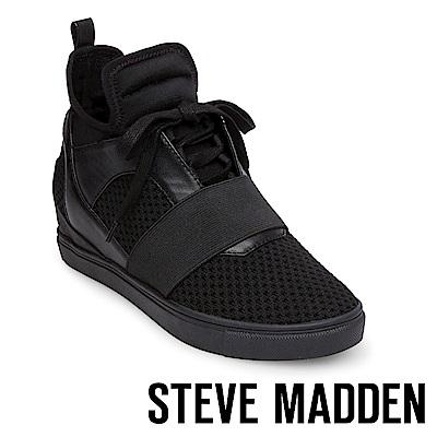 STEVE MADDEN-LEXI 綁帶拼接高筒休閒鞋-黑色