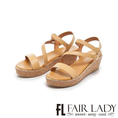 FAIR LADY Early Summer一字繞帶軟木楔型厚底涼鞋 黃