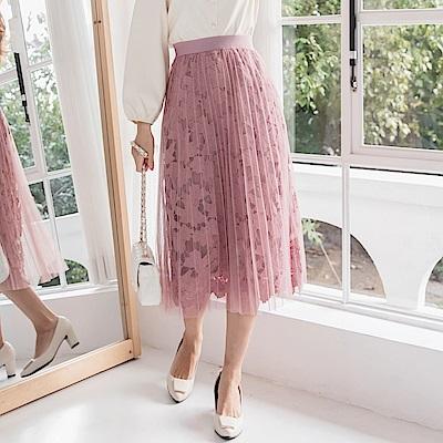 純色厚蕾絲雕花網紗百褶長裙-OB大尺碼