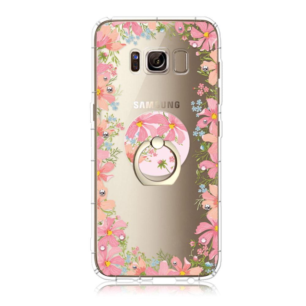 Corner4 Samsung Galaxy S8 奧地利彩鑽指環扣防摔手機殼-杜鵑香