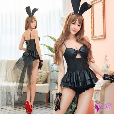 Sexy Cynthia誘惑黑色兔女郎角色扮演服四件組- 黑F