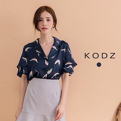 東京著衣-KODZ 雙層荷葉袖復古圖案襯衫-S.M.L(共一色)