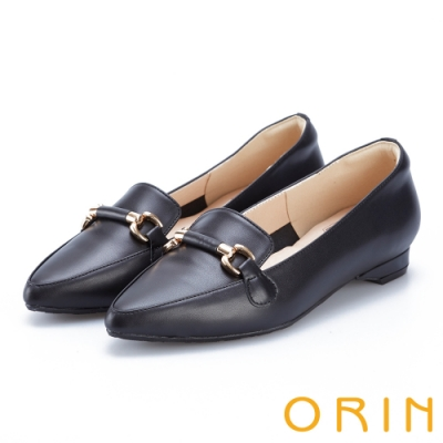 ORIN 質感牛皮馬銜釦樂福鞋 黑色