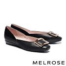 低跟鞋 MELROSE 質感百搭金屬方型飾釦造型真皮低跟鞋-黑