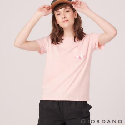 GIORDANO 女裝DEAR WORLD 系列純棉印花口袋T恤-22 草莓粉紅