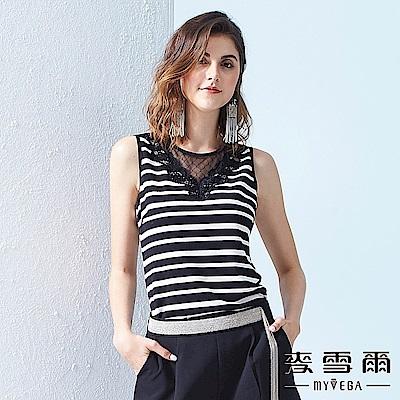 【麥雪爾】鏤空蕾絲領口黑白條紋背心