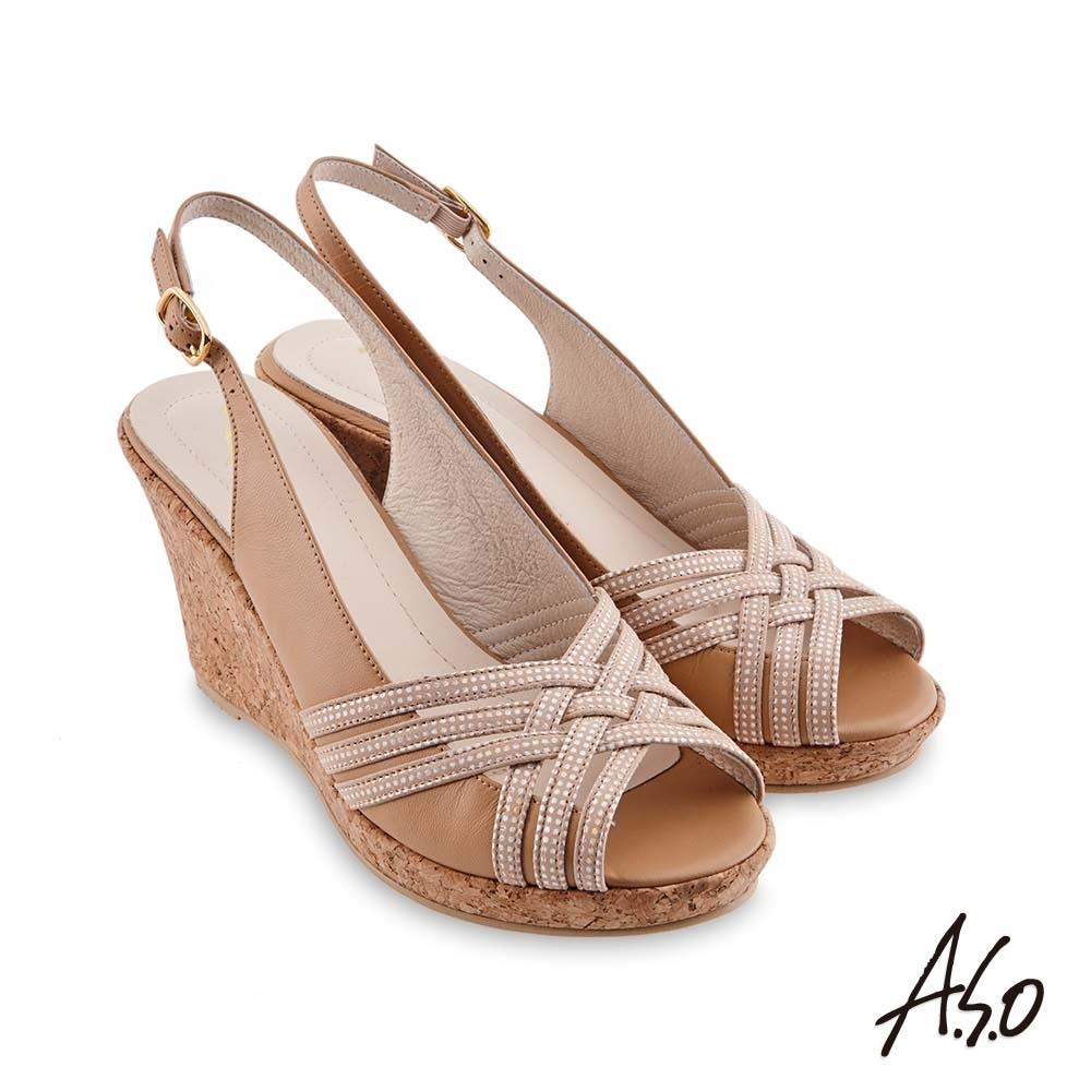 A.S.O 時尚流行 健步美型絨面羊皮條帶魚嘴楔型涼鞋-卡其
