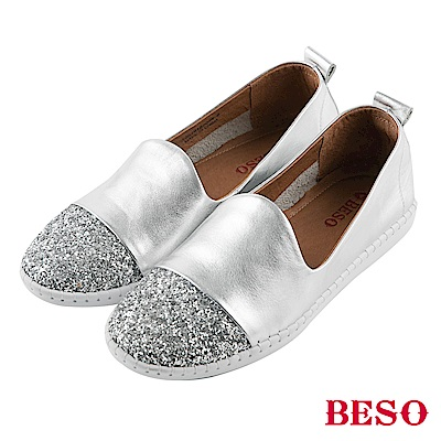 BESO休閒閃鑽 流線弧度休閒鞋~銀